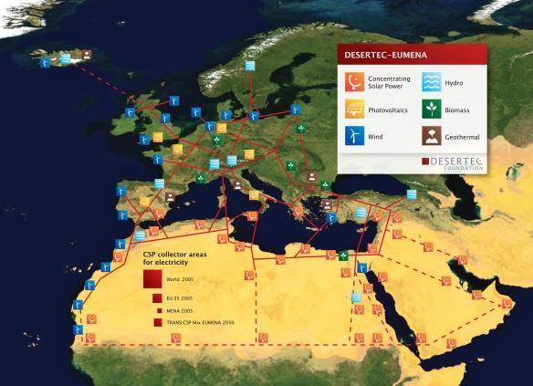Geografischer Ueberblick zum DESERTEC-Konzept